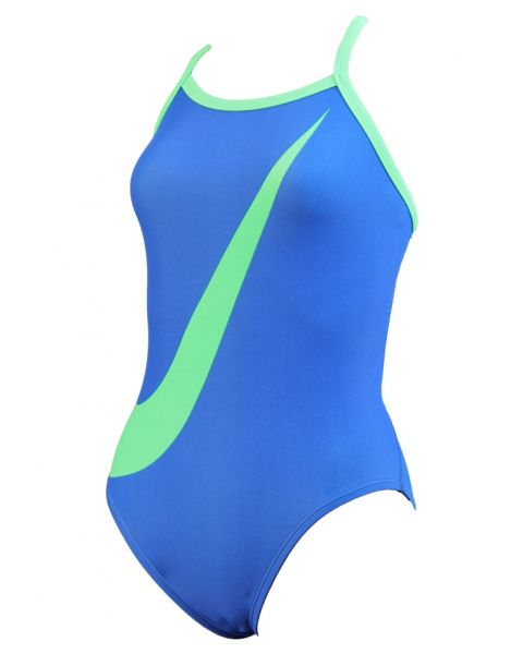 Nike Girl's Big Swoosh Swimsuit - Blue