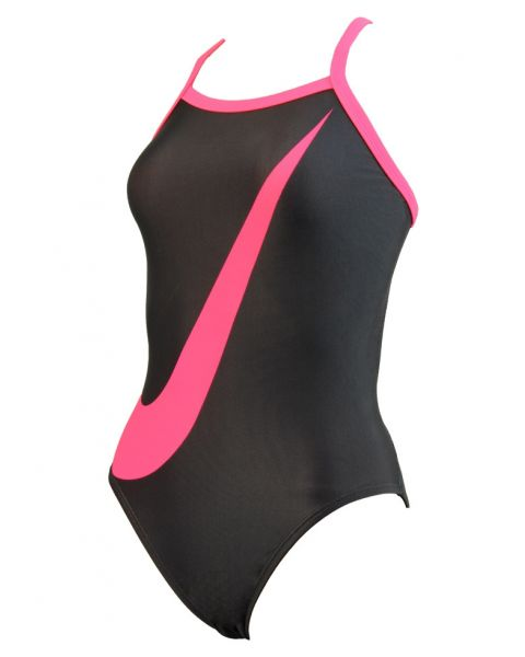 Nike Girl's Big Swoosh Swimsuit - Pink