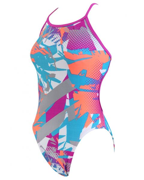 Nike Girls Drift Graffiti Swimsuit - Pink / Orange