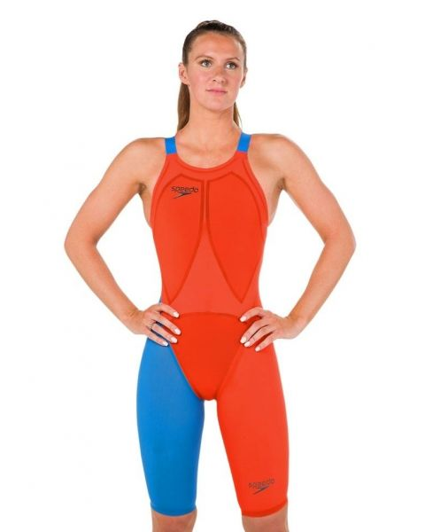 Speedo LZR Racer Elite 2 Openback Kneesuit - Orange / Blue
