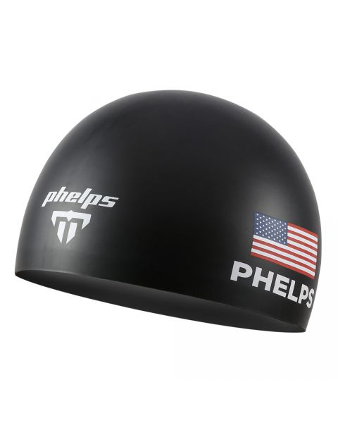 Phelps Course Race Bonnet De Natation En Silicone - Noir
