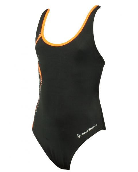 Aqua Sphere Bliss Girls Swimsuit - Black / Bright Orange Front