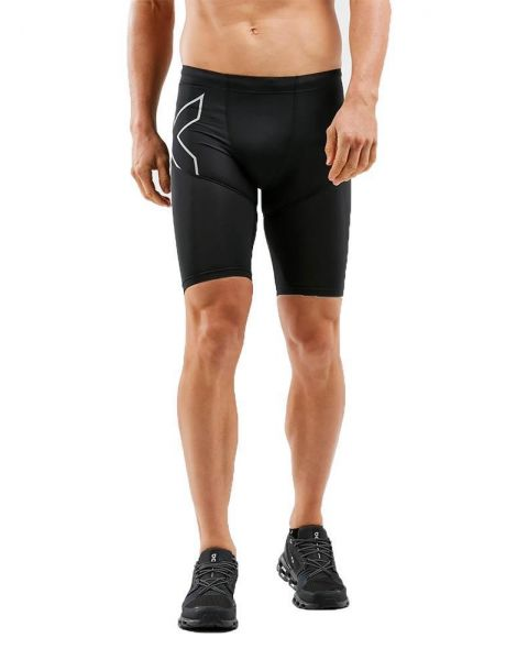 2XU Men's Aero Vent Compression Shorts - Black/ Silver