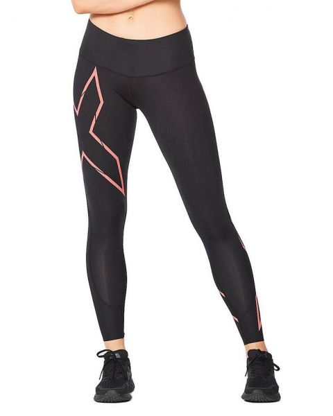 2XU Women's Light Speed Mid-Rise Compression Tights - Black / Cranberry Reflective
