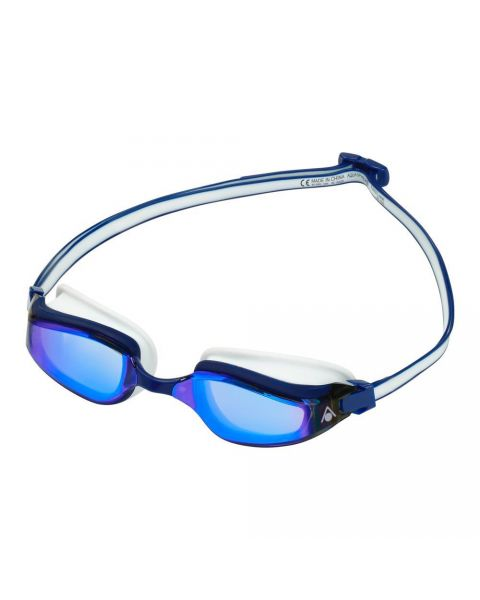 Aqua Sphere Fastlane Blue Titanium Mirrored Goggles - Blue/ White