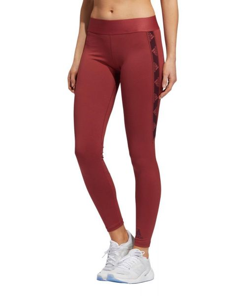 Adidas Alphaskin Badge Of Sport Logo Tights - Legacy Red / Maroon