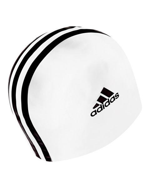 Adidas 3 Stripe Junior Silicone Swim Cap - Black