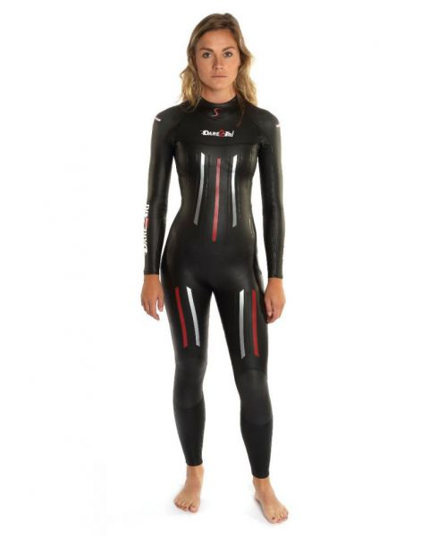 Dare2Tri Womens MACH3 S.7 Wetsuit - Black / Red