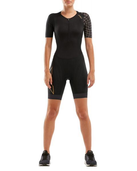 2XU Mujeres Compression Sleeved Traje de Triatlón - Negro