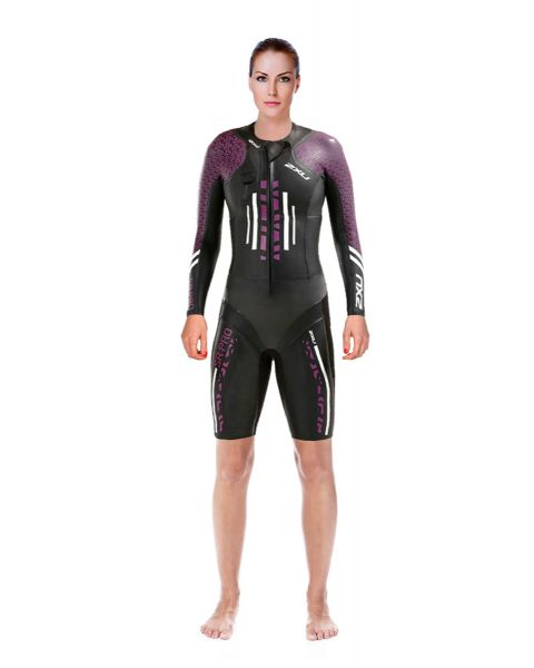 2XU Women's Swim Run: Pro Wetsuit- Black / Berry