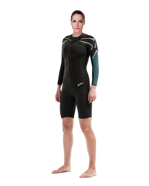 2XU Women's Pro-Swim Run SR1 Wetsuit - Black / Aquarius Teal Print