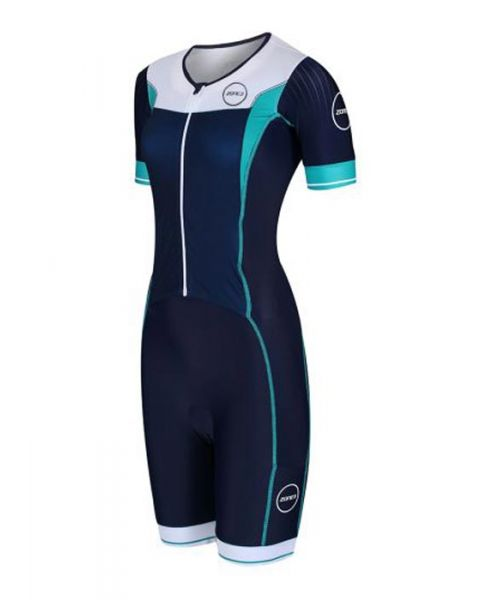 Zone3 Damer Lava Full Zip Kortærmet Triatlon Drakt  - Marineblå / Hvid