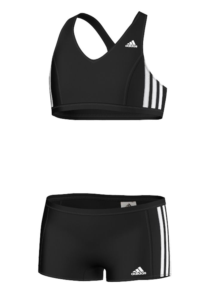 Adidas Kids 3 Stripes Swim Bikini Black White